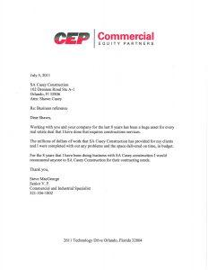 Commercial General Contractor in Orlando Review - CEP Letter