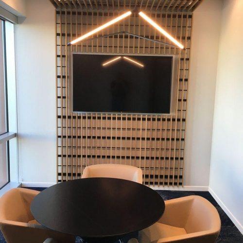 Office Renovation General Contractor Meeting Room Woodslats